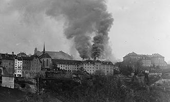 Incendie au pensionnat, 1937, © BCUFribourg, Fonds Mühlhauer